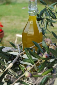 Bottle of freshly pressed oil