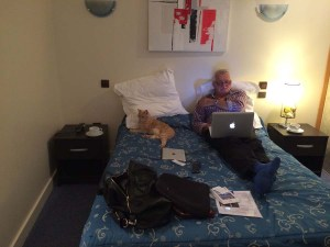 Mickey taking it easy with The Man in our hotel in San Quentin