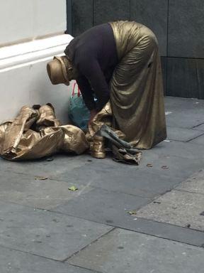 A statue preparing for work